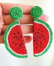 Yummy Watermelon Fruit Earrings Zara Beautiful Red Green Beads