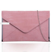 Dusky Pink Suede Wedding Ladies Evening Clutch Hand Bag Purse ENVELOP Handbag