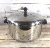 Vintage Farberware 6 QT Stock Pot Aluminum Clad Stainless Steel w/ Lid USA