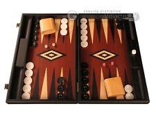 Black Wood Backgammon Set - Red Field - Large Wooden Board