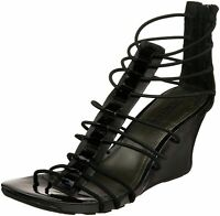 Kenneth Cole Reaction Black Wedge Sandals Open Toe Strappy Stretch Shoe Size 6