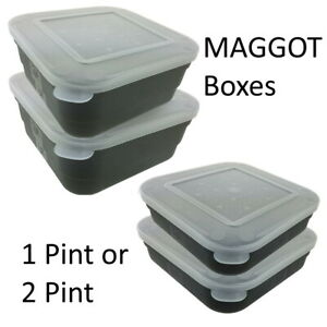 Maggot Box Bait Tub Boxes Square Black 1 and 2 PINT Coarse Match Fishing