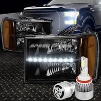 BLACK LENS LED HEADLIGHT+AMBER CORNER+WHITE LED H8 HID W/FAN FOR 07-14 GMT900