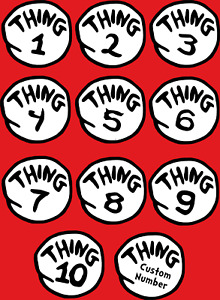Thing 1 - 99 Iron On Transfer for Any Colour Fabric Costume Dress Up - Pre-Cut