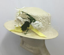 VINTAGE FRANK OLIVE HAT OFF WHITE STRAW WHITE & YELLOW DAISY FLOWERS 2 HAT PINS