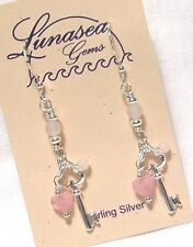LUNASEA TREASURES KEY TO MY HEART ROSE QUARTZ GEMSTONE STERLING SILVER EARRINGS