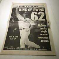 NY Daily News: Sept 9 1998 King Of Swing 62 mark mcgwire stl cardinals