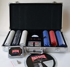 Poker Set Aluminum Case w/Chips, 2 Decks of Cards, 5 Dice, Game Wheel Never Used