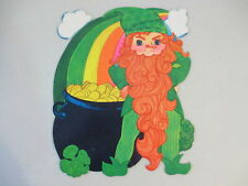 Vintage St Patrick's Day Leprechaun Pot Gold Rainbow Cardboard Diecut Decoration