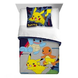 Pokemon Kids Microfiber Bedding Reversible Comforter with Sham 2-Piece Set Twin
