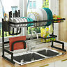 Over The Sink Dish Drying Rack Shelf Stainless Steel Kitchen Cutlery Holder USA