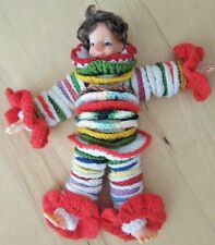 "1960s Vintage Handmade Crochet Yarn Disc Clown Doll 18"" Orange Green Red Yellow"