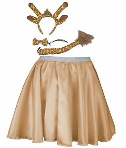 """Ladies Gold Satin 15"""" Skater Skirt & Giraffe Accessory Kit"""