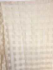 Maxan Shower Curtain Fabric Checked White on White for Bathroom 72in Long