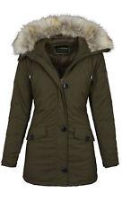 Warme Damen Winterjacke Jacke Mantel Parka Kapuze Fell gefüttert NEU B513