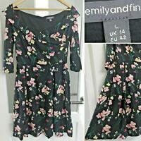 Emily And Fin Black Dress L (UK 14) Boat Neck Floral Lined 3/4 Sleeve Retro