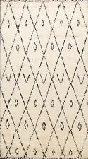 Tribal IVORY Moroccan Geometric Berber Oriental Area Rug Hand-knotted WOOL 6'x9'