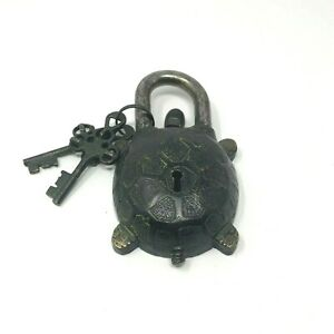 Vintage Antique Style Hand Made Solid Brass Turtle Puzzle PadLock with Keys