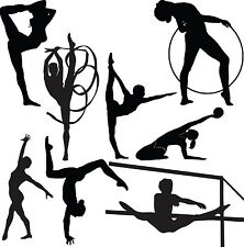 GYMNASTICS Set of Vinyl Wall Art Decals Lettering Design Words Decor Bedroom