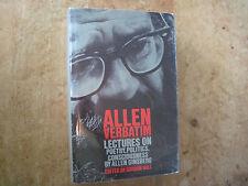 ALLEN VERBATIM - SIGNED BY ALLEN GINSBERG -FIRST EDITION IN DUST JACKET