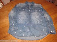 Roxy Juniors Womens XS Blue horseshoe long sleeve snap up top shirt NWT 49.5^^