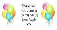 Personalised Balloons 2 Party Stickers Party Bag Labels Favours Sweet Cones Loot