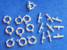 10 silver plated patterned t bar or toggle clasps, findings for jewellery making