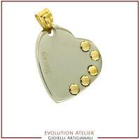 Ciondolo cuore in acciaio con gancetto e applicazioni in oro giallo 18 Kt  750‰