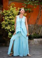 Fashion Boho 2 Piece Set Top Pant - Rayon Crinkle Comb Spandex - A686 Plus Sizes