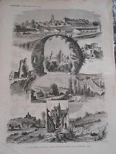 Gravure 1874 - Le Nouveau Chemin de Fer de Paris à Dieppe par Pointoise Gisors