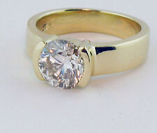 1.5CT CZ Solitaire Engangement Bezel Ring 14K  Yellow Gold New