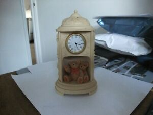 Fabulous Stone Ware Style Teddy Bear Mantle Clock