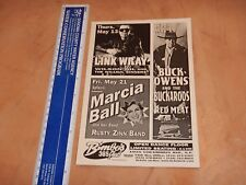 1999 Link Wray, Buck Owens And The Buckaroos Bimbo'S 365 Club Concert Handbill