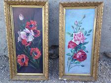Lot 2 tableaux peinture huile sur toile signés E. CLEMENT cadre doré sculpté