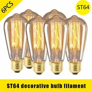 6Pcs ST64 E27 Vintage Retro Edison Bulbs, 4W Filament Light Bulb Warm White