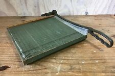 "Vintage Premier Brand Wood Paper Cutter Cast Iron Handle Green Crafts 11"" X 11"""