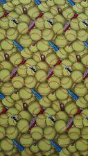 """New 44"""" 100% Cotton Elizabeth's Studio Yellow Softballs w/Multi-colored Bats"""