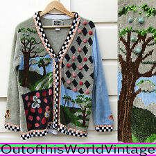 Sweater TREES NATURE COUNTRY beaded embellished BUTTERFLY BUTTONS chenille Sz L
