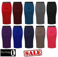 NEW LADIES PLAIN OFFICE WOMEN STRETCH BODYCON MIDI PENCIL SKIRT UK SIZE 8-14