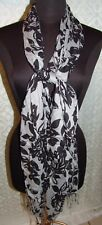 """Scarf Womens Light Weight Black Gray Floral Print 22"""" x 72"""" Long"""