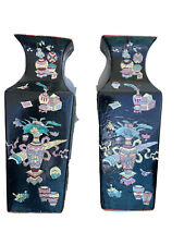 Pair of Late Qing Dynasty Chinese Kangxi Famille Noire Vases Signed 16 Inches