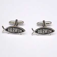 DARWIN FISH (on legs)  EMBLEM as a pair of cufflinks
