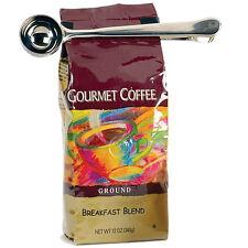 ACCIAIO inox 1 tazza di caffè macinato Measuring SCOOP CUCCHIAIO + BAG GUARNIZIONE CLIP NUOVO Regno Unito