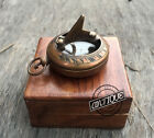 Vintage Antique Design Sun Dial Clock Compass in Brown Wooden Box Gifts Hik