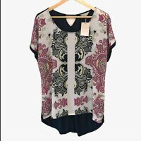 NEW Womens 14 Top Pattern Boho Sparkles Abstract Asymmetrical T-shirt Navy Pink