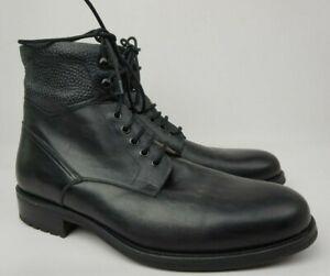 Magnanni Peyton Black Leather Cap Toe Men's Boots Size 10 M