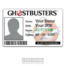 PERSONALISED Printed Novelty ID- Ghostbusters Film & TV Pass Card Funny Gift!
