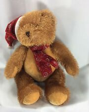 Christmas Teddy Bear Red Hat And Scarg With Snowflakes 11 Inches