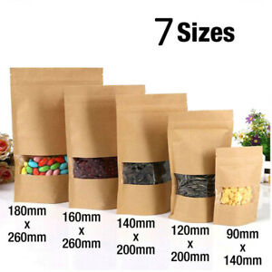 Kraft paper bag, sealable, vertical food grade coffee pouch, bag with window New