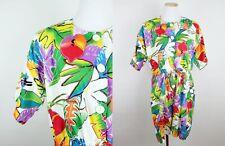VTG 80s 90s Tropical Floral Print Romper S/M Oversized Boxy Hawaiian Rainbow